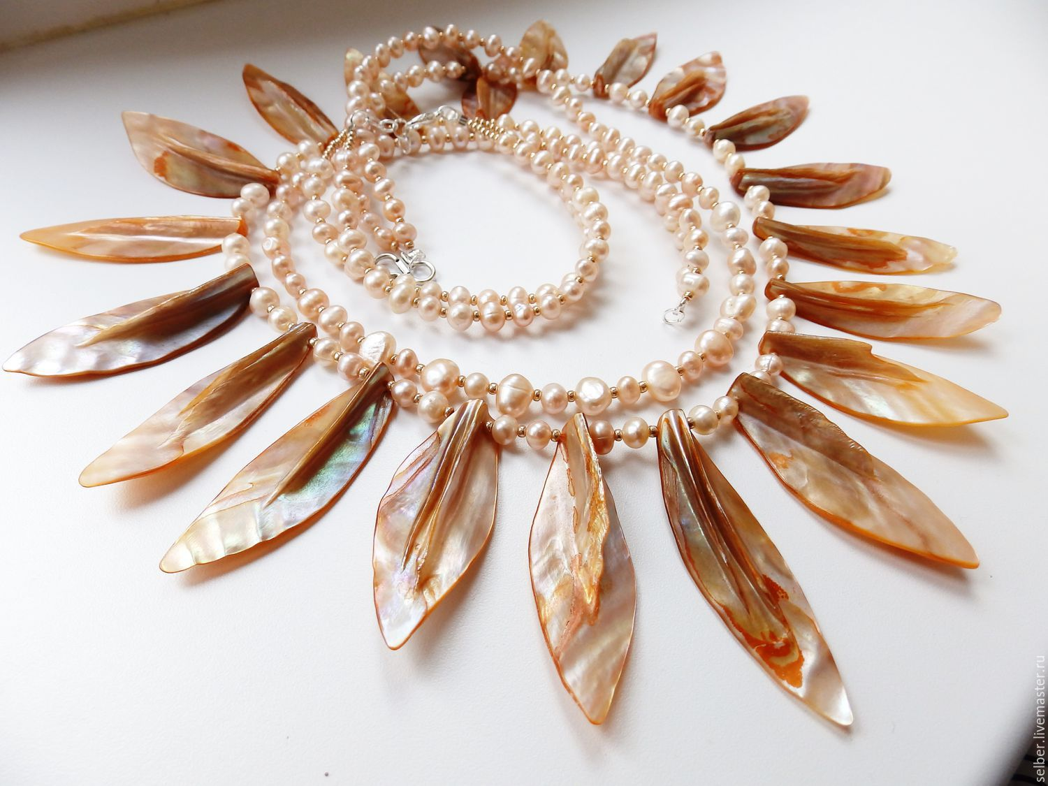 Necklace and bracelet Autumn Sun (mother of pearl, pearl), Jewelry Sets, Gatchina,  Фото №1