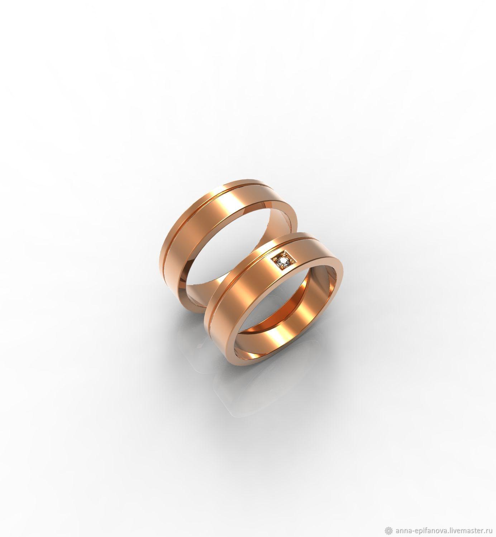 Pair of gold wedding rings (Ob47), Engagement rings, Chelyabinsk,  Фото №1