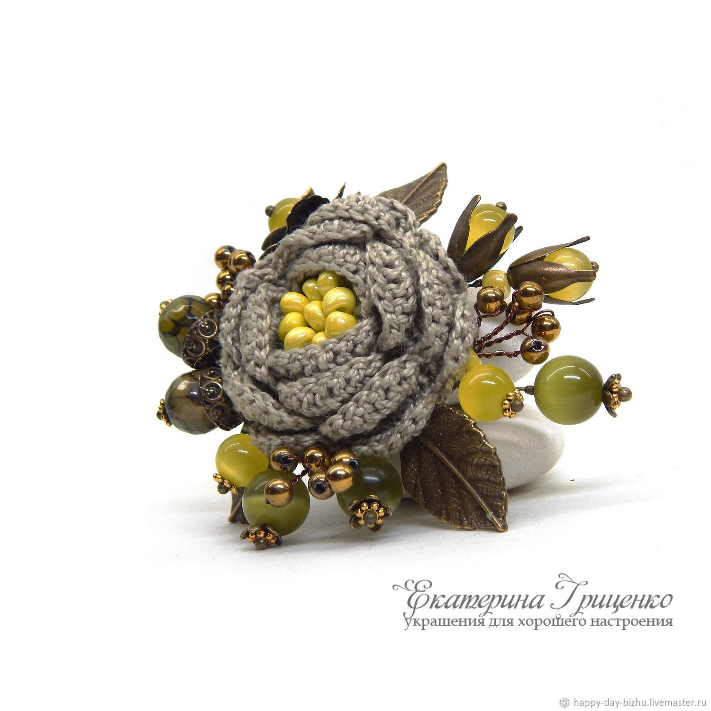 Knitted brooch. Brooch bouquet. Brooch boho. Beautiful brooch – shop ...