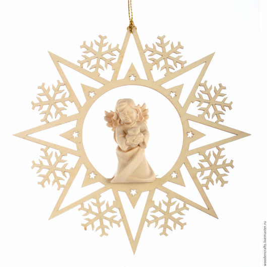 """Новый год 2017 ручной работы. Ярмарка Мастеров - ручная работа. Купить Елочная игрушка """"Снежинка с ангелом"""". Handmade. Ангел из дерева"""