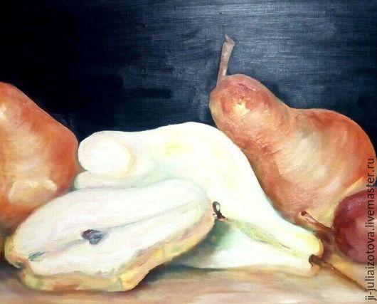 """Натюрморт ручной работы. Ярмарка Мастеров - ручная работа. Купить Картина """"Груши на столе"""" холст на подрамнике, масло. Handmade. Комбинированный"""