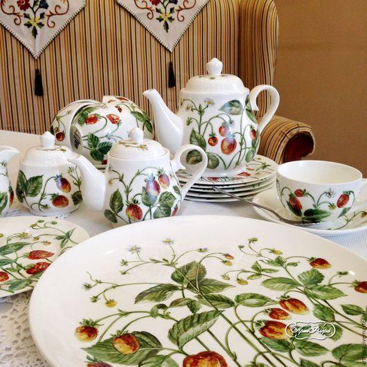 Сервизы, чайные пары ручной работы. Ярмарка Мастеров - ручная работа. Купить Роспись фарфора Чайный сервиз Земляничная поляна. Handmade.
