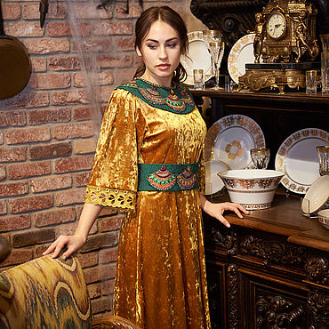 Одежда handmade. Livemaster - original item Author`s dress Gold Velvet. Handmade.