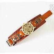 Кожаный браслет-часы в стиле Леонардо да Винчи