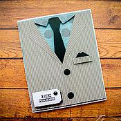 """Открытки ручной работы. Ярмарка Мастеров - ручная работа Открытка мужская """"Классический костюм"""".. Handmade."""