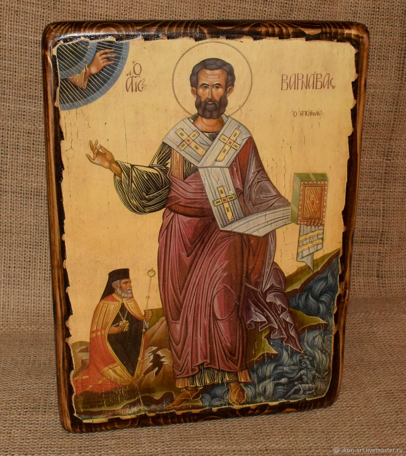 The wooden icon of the Holy Apostle Barnabas. The founder of the Church of Cyprus. icon handmade. Wood, gesso. Created using proprietary technology.