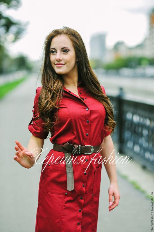 """Платья ручной работы. Ярмарка Мастеров - ручная работа. Купить Платье - рубашка """"Сафари"""". Handmade. Бордовый, платье рубашка"""