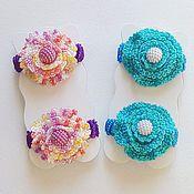 Украшения ручной работы. Ярмарка Мастеров - ручная работа Заколки вязаные. Мини цветочки 2 цвета, га резинке. Handmade.