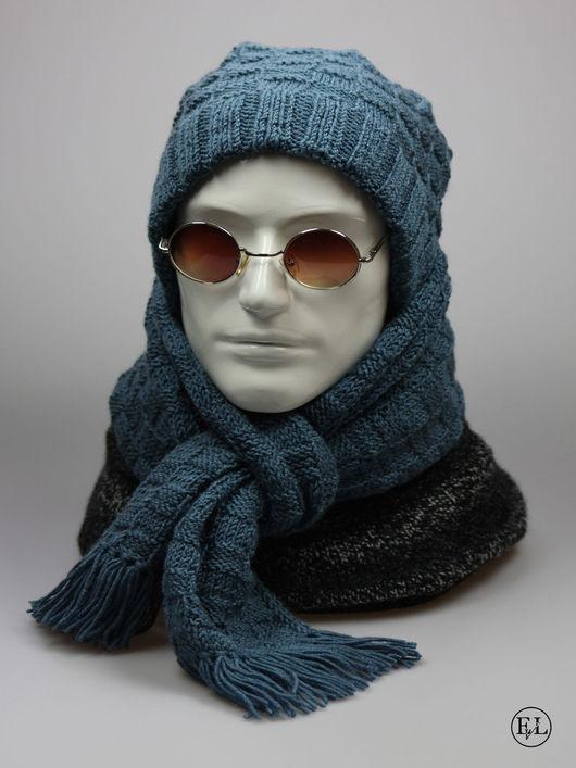 """Для мужчин, ручной работы. Ярмарка Мастеров - ручная работа. Купить Мужской комплект """"Шапка + шарф из джинсовой пряжи"""". Handmade."""