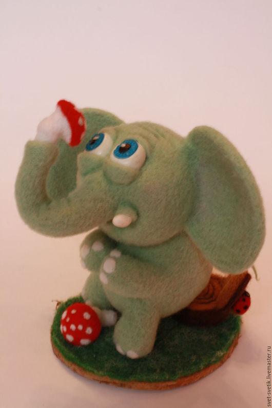 Игрушки животные, ручной работы. Ярмарка Мастеров - ручная работа. Купить Слоненок Мухоморчик. Handmade. Мятный, валяная игрушка