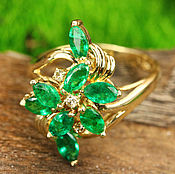 Rings handmade. Livemaster - original item Downton Abbey Glamor! 2.16tcw Colombian Emerald & Diamond Edwardian En. Handmade.
