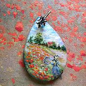 Украшения handmade. Livemaster - original item painting poppies lacquer miniature,pendant,the painting on the stone. Handmade.