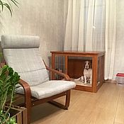 Для домашних животных, ручной работы. Ярмарка Мастеров - ручная работа Деревянная клетка-тумба с металлической решеткой. Handmade.