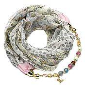Аксессуары handmade. Livemaster - original item Chiffon shawl with beads (pink flower). Handmade.
