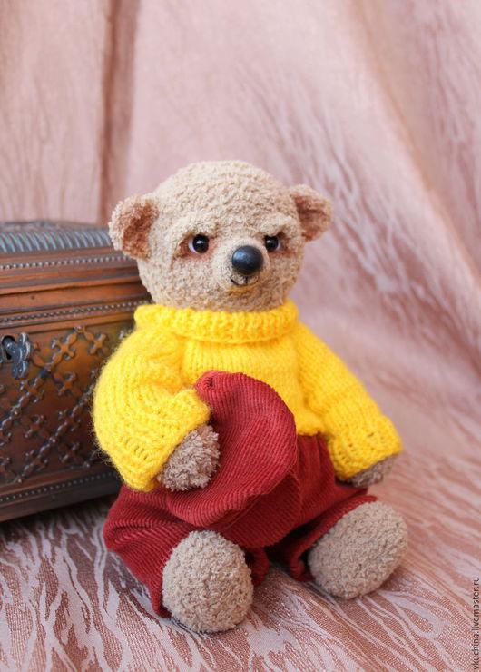Мишка Миша вязаная игрушка тедди мишка тедди игрушка русский мишка в штанишках желтый мишка в кепке мишка в одежде медведь