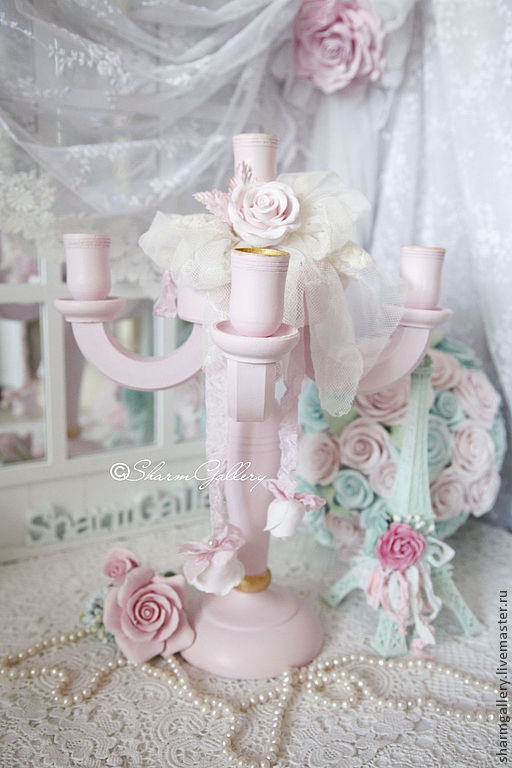 """Подсвечники ручной работы. Ярмарка Мастеров - ручная работа. Купить """"Shabby pink Rose"""". Канделябр на 5 свечей, деревянный.. Handmade."""