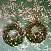 """Серьги классические ручной работы. Ярмарка Мастеров - ручная работа Серьги """"Ярко-зеленые круги"""". Handmade."""