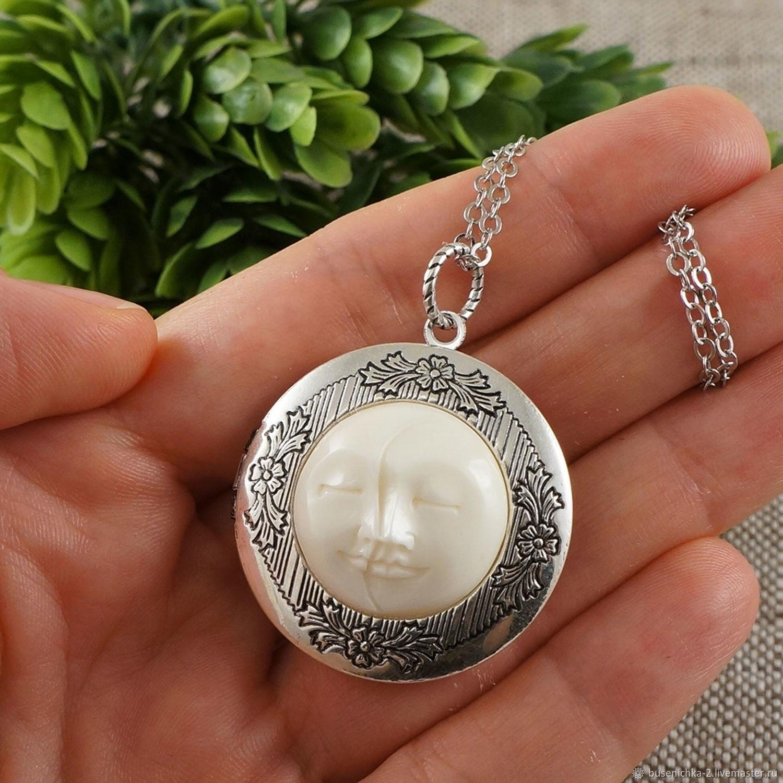 Медальон Луна Полумесяц белый antique silver, Подвеска, Москва,  Фото №1