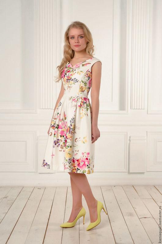 """Платья ручной работы. Ярмарка Мастеров - ручная работа. Купить Платье """"Цветочный вальс""""-3. Handmade. Белый, цветочный принт"""