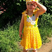 """Работы для детей, ручной работы. Ярмарка Мастеров - ручная работа Платье и шапочка """"Ромашка"""". Handmade."""