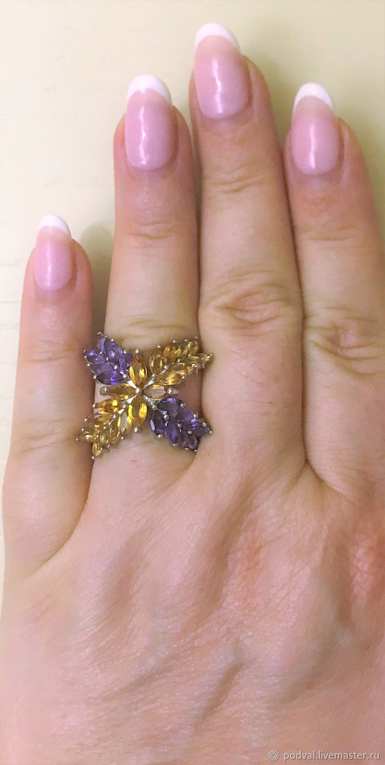 Designer ring with natural amethysts, citrines', Rings, Korolev,  Фото №1