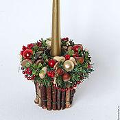 Подарки к праздникам ручной работы. Ярмарка Мастеров - ручная работа Новогодний подсвечник со свечой. Handmade.