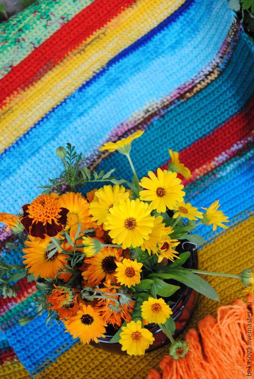 """Текстиль, ковры ручной работы. Ярмарка Мастеров - ручная работа. Купить Бабушкин коврик """"Ноготки цветут"""". Handmade. Коврик, ковры"""