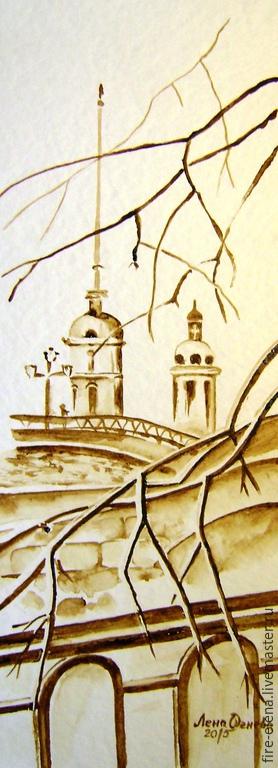 Город ручной работы. Ярмарка Мастеров - ручная работа. Купить Кофейный аромат - диптих - Санкт-Петербург, оформлена. Handmade. Коричневый