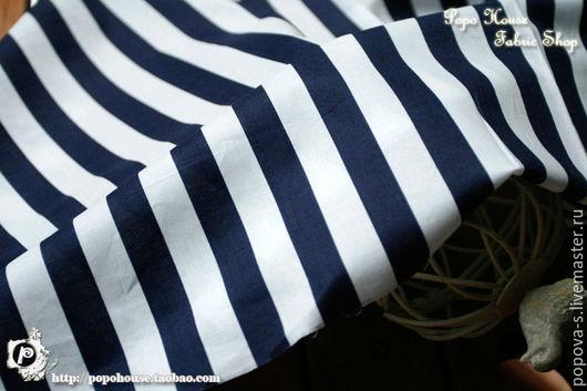"""Шитье ручной работы. Ярмарка Мастеров - ручная работа. Купить Японский хлопок """"Полоска"""". Handmade. Тёмно-синий, морская тема"""
