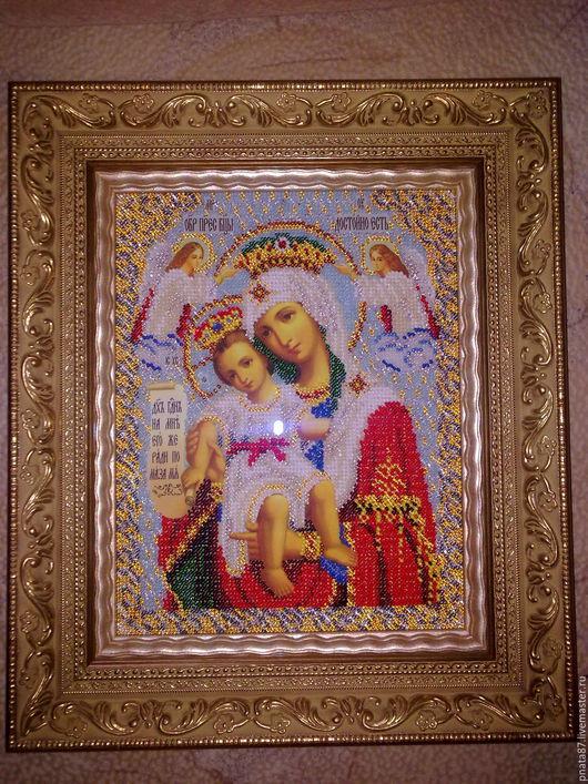 Иконы ручной работы. Ярмарка Мастеров - ручная работа. Купить Богородица Милующая (Достойно есть). Handmade. Бисер, именная икона