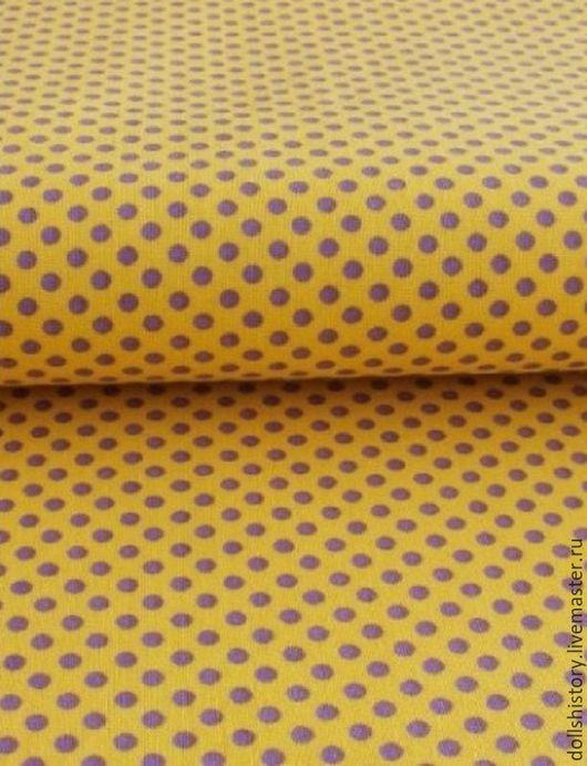 Желто-сиреневый, ткань в горошек, ткань для творчества, ярмарка мастеров.