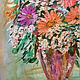 Картина Герберы в вазе, ручная работа, автор Евгения Морозова написана маслом на оргалите, размер 35 х 50 см.  Картина может стать прекрасным подарком на день рождения для девушки, женщины.