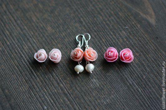 """Серьги ручной работы. Ярмарка Мастеров - ручная работа. Купить Серьги """"Розочки с жемчугом"""". Handmade. Розовый, серебро, ручная работа"""
