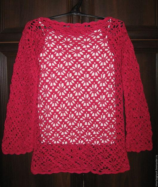 Кофты и свитера ручной работы. Ярмарка Мастеров - ручная работа. Купить Джемпер вязаный крючком Цветы цикламена. Handmade.