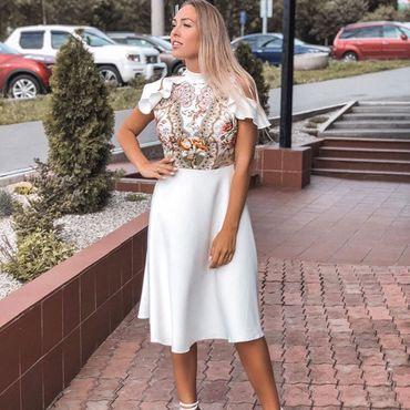 Одежда ручной работы. Ярмарка Мастеров - ручная работа Белое летнее платье, короткое летнее платье. Handmade.