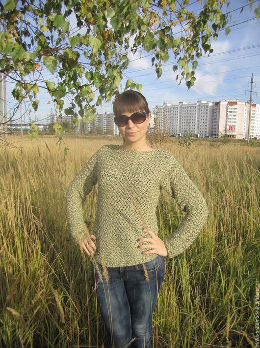 Кофты и свитера ручной работы. Ярмарка Мастеров - ручная работа. Купить Плетёный свитерок. Handmade. Зеленый, соломенный свитер