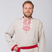 Русский стиль handmade. Livemaster - original item Men`s linen shirt Agriculture 01. Handmade.