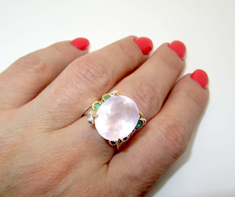 Кольцо с розовым кварцем серебряное, Кольца, Самара,  Фото №1