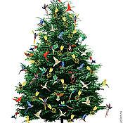 Набор стеклянных ёлочных украшений - птицы