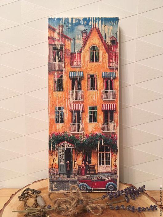 """Город ручной работы. Ярмарка Мастеров - ручная работа. Купить Интерьерное деревянное панно, """"Желтый Дом"""". Давид Мартиашвили. Handmade."""