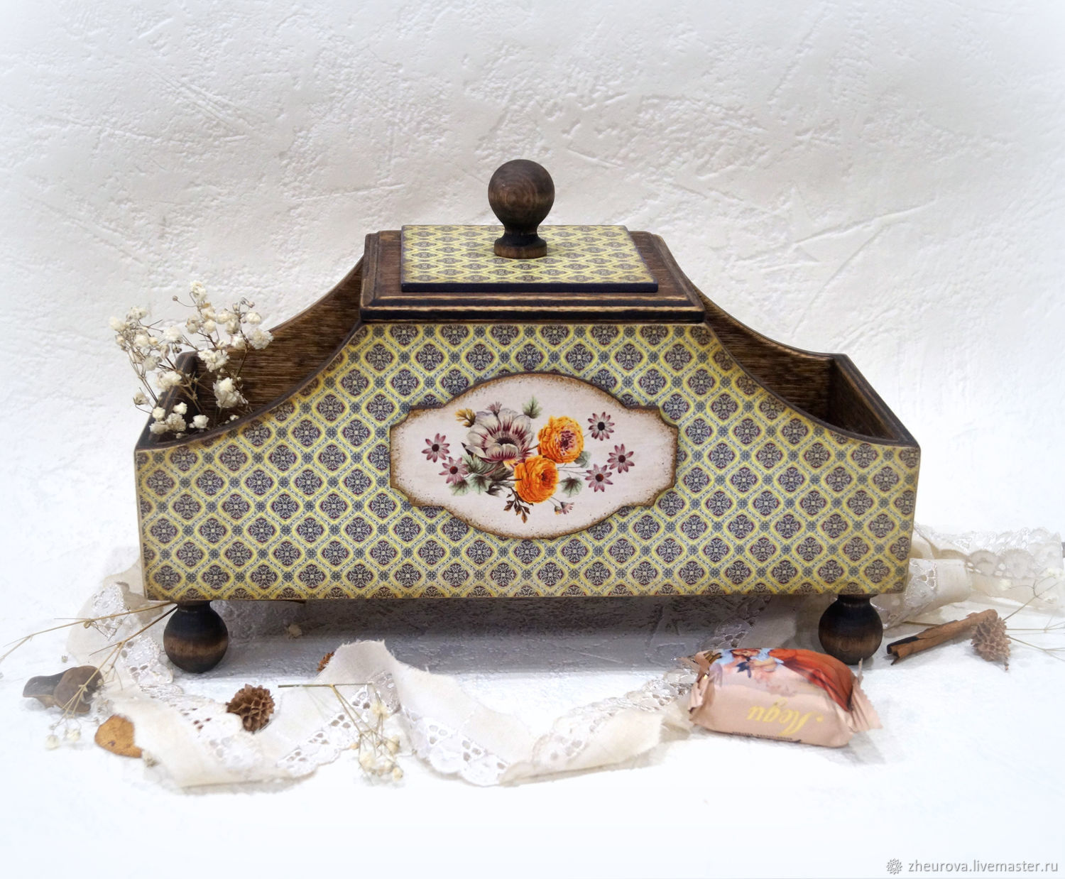 Box for tea and sweets 'Vintage flowers', Houses, Moscow,  Фото №1