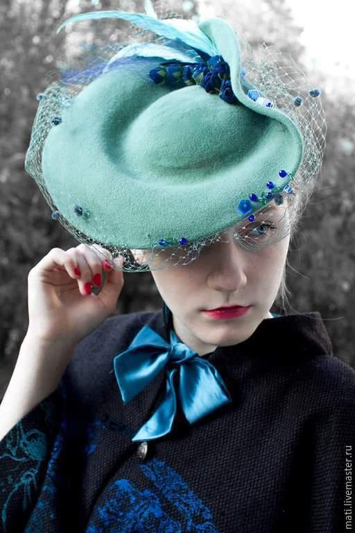 """Шляпы ручной работы. Ярмарка Мастеров - ручная работа. Купить Шляпка"""" Иоанна"""". Handmade. Тёмно-бирюзовый, перья птиц"""