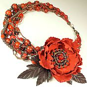 Украшения handmade. Livemaster - original item The Valley Red Peony. Necklace, brooch made of genuine leather. Handmade.