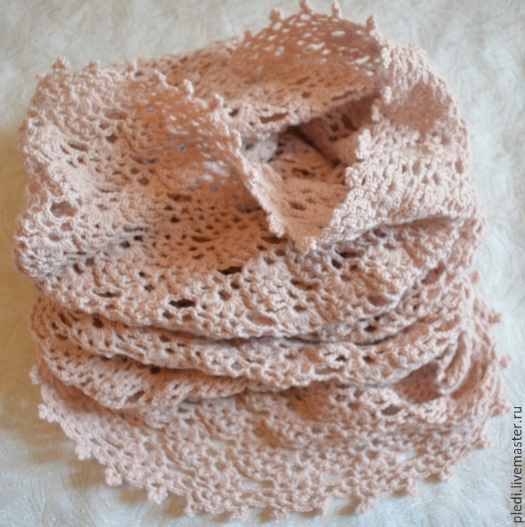 Scarf Snood, tube, cowl, pink beige, Scarves, Moscow,  Фото №1