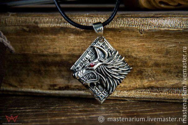Pendant Of The Space Wolves. Warhammer 40,000. brass silver Nickel silver, Pendant, Moscow,  Фото №1