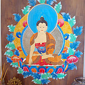 Картины и панно handmade. Livemaster - original item Buddha painting on a wooden panel Tank Interior painting. Handmade.