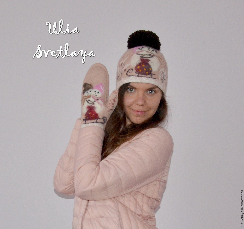 """Шапка и варежки """"Влюбленные снеговики"""" валяный комплект, Mittens, Zaporozhye,  Фото №1"""