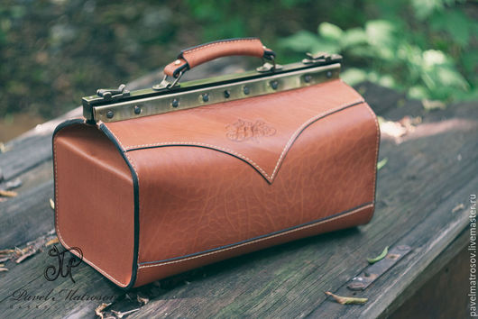 Женские сумки ручной работы. Ярмарка Мастеров - ручная работа. Купить Саквояж из натуральной кожи. Handmade. Саквояж, коричневый