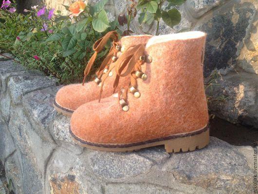 Обувь ручной работы. Ярмарка Мастеров - ручная работа. Купить Ботинки валяные Рыжие. Handmade. Рыжий, валянве ботинки