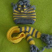 Работы для детей, ручной работы. Ярмарка Мастеров - ручная работа шапочка и шарфик детские из шерсти. Handmade.
